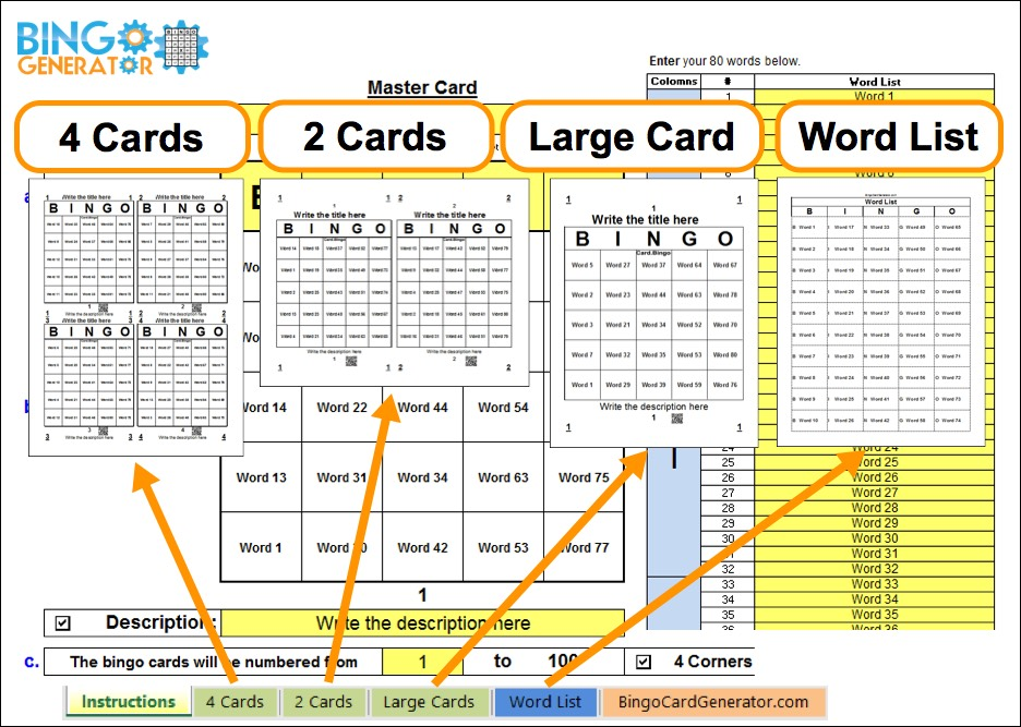 bingo card generator 50 words excel windows