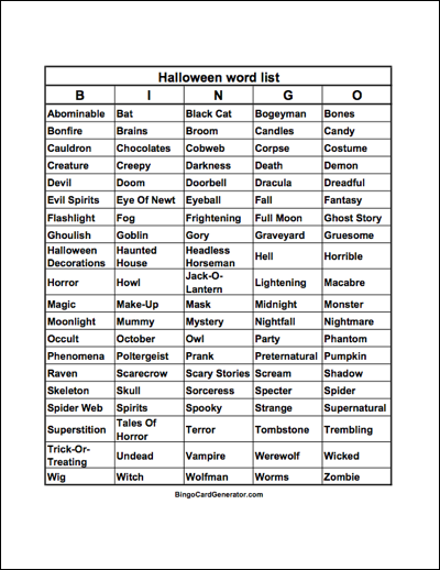 halloween bingo word list