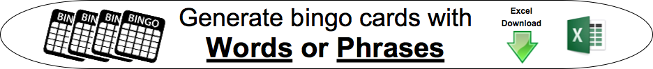bingo cards with words or phrases
