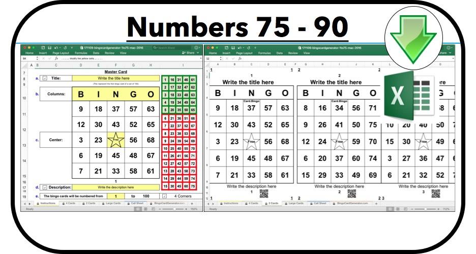 bingo card generator excel numbers 75 90
