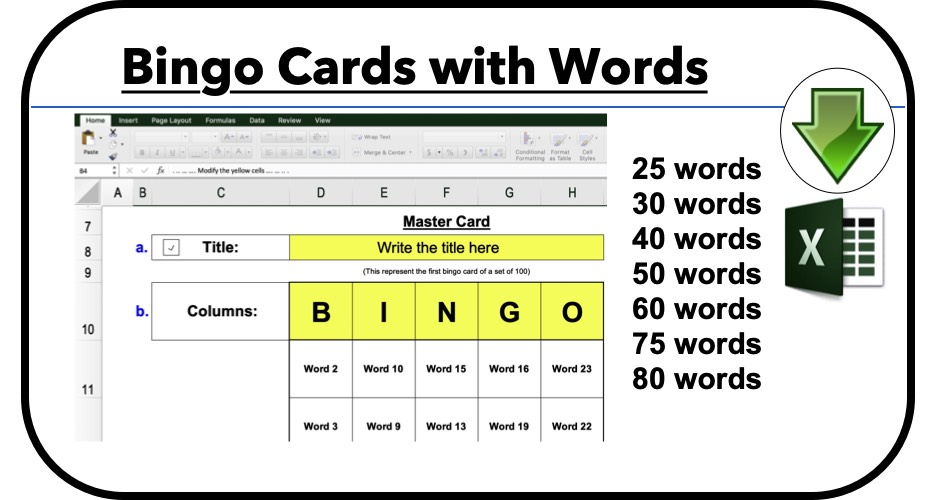 bingo card generator excel word list