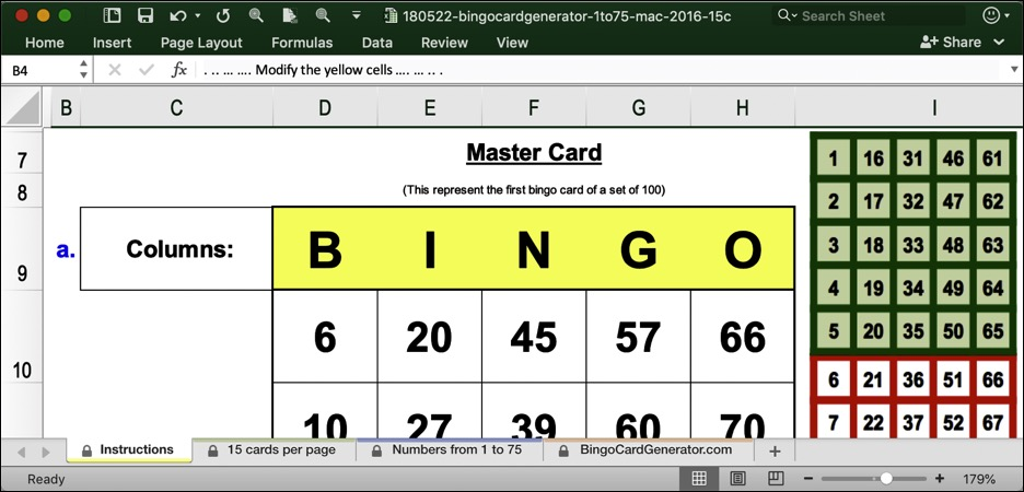 bingo card generator 15 cartes mac excel download