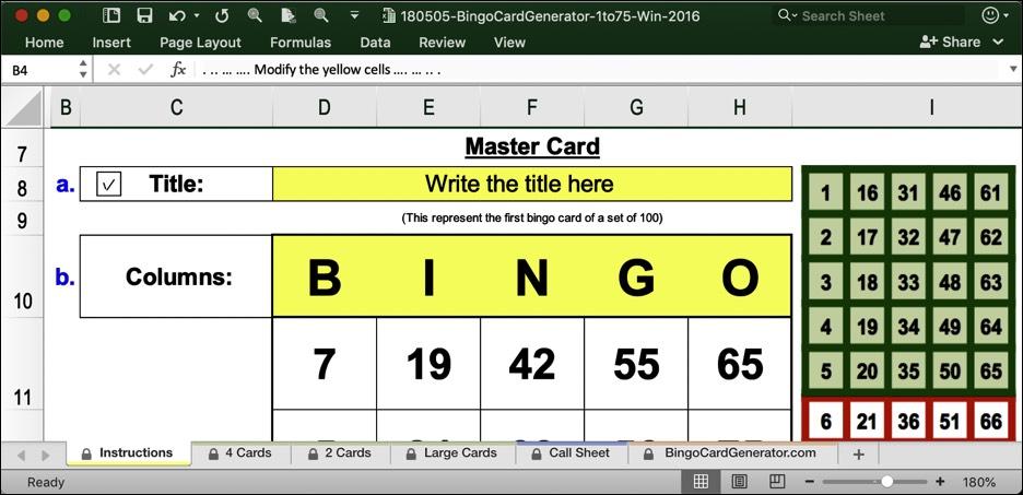 Bingo Card Generator Excel Windows Numbers From 1 To 75 Bingo Card Generator