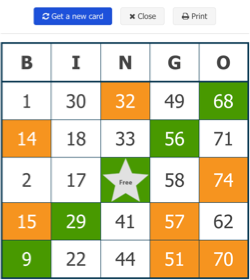 free virtual bingo card