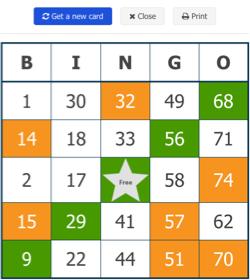 free virtual bingo card